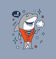 hipster shark cartoon t shirt design vector image vector image