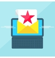 laptop with envelope red star vector image vector image