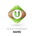 letter u logo symbol on colorful rhombus vector image vector image