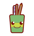 line color smile tools cup kawaii cartoon vector image vector image