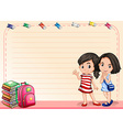 Line paper with girls and books vector image vector image