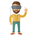Man with isometric virtual reality headset vector image