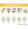 mathematics educational game for children match vector image vector image