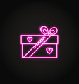 neon gift box icon in line style vector image vector image