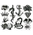 old school tattoo symbols heart knife knot vector image