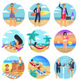 people work on summertime round set vector image vector image