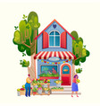 pet shop exterior market building cartoon flat vector image