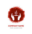 plant in hand icon - red watercolor circle splash vector image