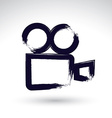 Realistic ink hand drawn video camera icon simple vector image