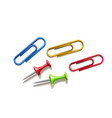 realistic pins and colored paper clips set vector image