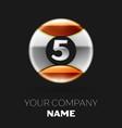 realistic silver number five logo symbol vector image