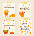 set autumn cards with characters and elements vector image vector image