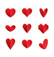 set of heart icons isolated on white vector image