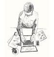 Sketch hands computer man office top view drawn vector image vector image