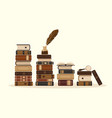 stacks old or historical brown books vector image vector image