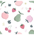 summer seamless pattern with fruits isolated on vector image