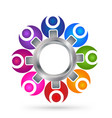 teamwork people with gear icon vector image vector image