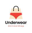 underwear online shop lingerie shopping bag logo vector image