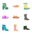 woman shoes icon set flat style vector image vector image