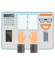 workplace concept top view hands notebook vector image