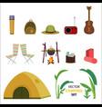flat camping icons set vector image