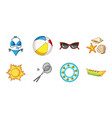 summer rest icons in set collection for design vector image