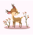 a cartoon deer on pink background vector image vector image