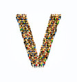 a group of people in english alphabet letter v vector image