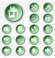 abstract green round paper icon set vector image vector image