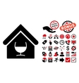 Alcohol Bar Flat Icon with Bonus vector image vector image
