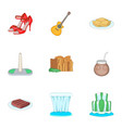 argentina festival icons set cartoon style vector image vector image