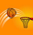 basket ball pop art style vector image vector image
