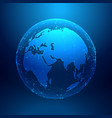 blue earth on wireframe network mesh digital vector image vector image