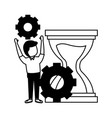 Businessman with gears hourglass