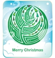Card with round christmas tree vector image vector image