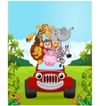 Cartoon collection animal vacation with red car vector image vector image