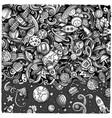 cartoon cute doodles space frame card vector image vector image