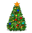 christmas tree with a star balls candy cones vector image