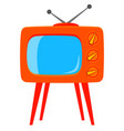 colorful cartoon retro tv on high stand vector image vector image