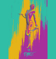 colorful paper cut dancing girl figure vector image