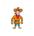 Cowboy Standing Drawing Gun Cartoon vector image vector image