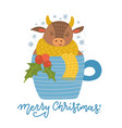 cute cartoon bull is sitting in a cup coffee vector image vector image