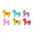 cute horses cartoon bright color ponies vector image vector image