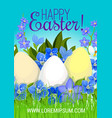 easter poster paschal eggs flowers greeting vector image vector image