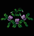 embroidery of jeans smooth lilac flowers pansies vector image vector image