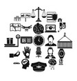 full time work icons set simple style vector image