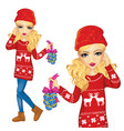 girl with christmas decorations vector image vector image