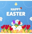 Happy Easter Card Eggs Grass Flowers Poster vector image vector image