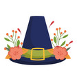 happy thanksgiving day pilgrim hat flowers leaves vector image vector image