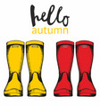 hello autumn with rubber boots hand drawing for vector image vector image